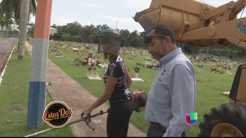A Patricia Corcino le tocó ir a trabajar a un cementerio