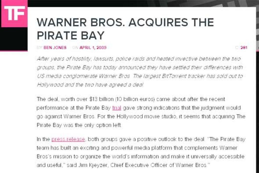 Warner Bros. adquiere The Pirate Bay (2009) - Esto es algo que WB seguro...