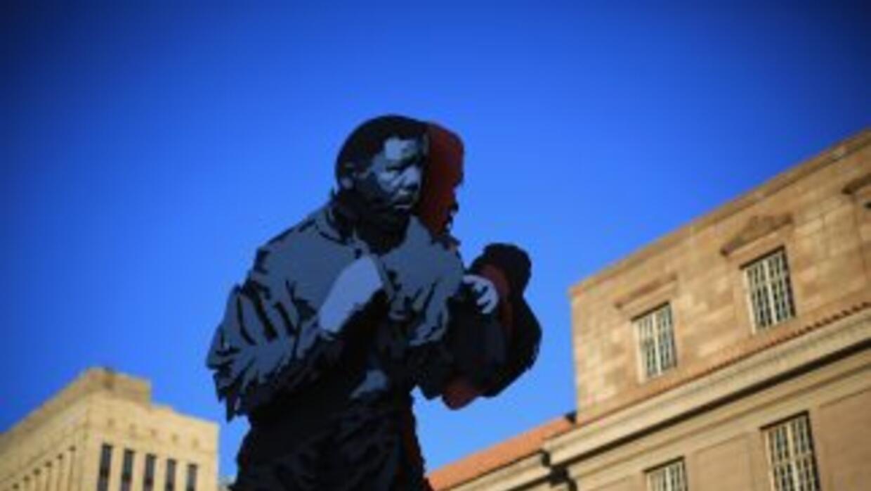 Estatua de Nelson Mandela en Sudáfrica.