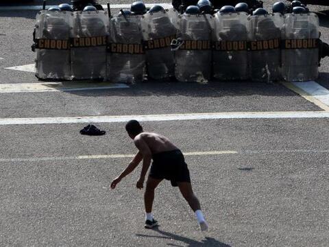 El batallón de choque de la policía militarizada de R&iacu...