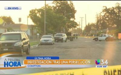 Investigan una persecución y un tiroteo en Compton