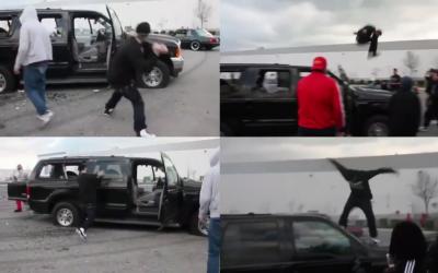 Cuatro instantes del video del violento ataque a un auto en Stockton el...