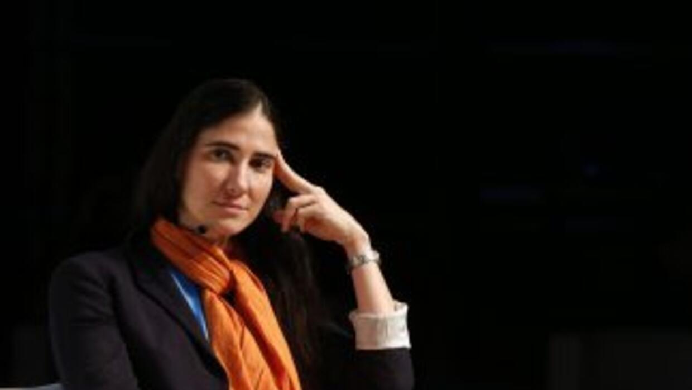 Yoani Sánchez durante una de sus presentaciones en la reciente gira por...