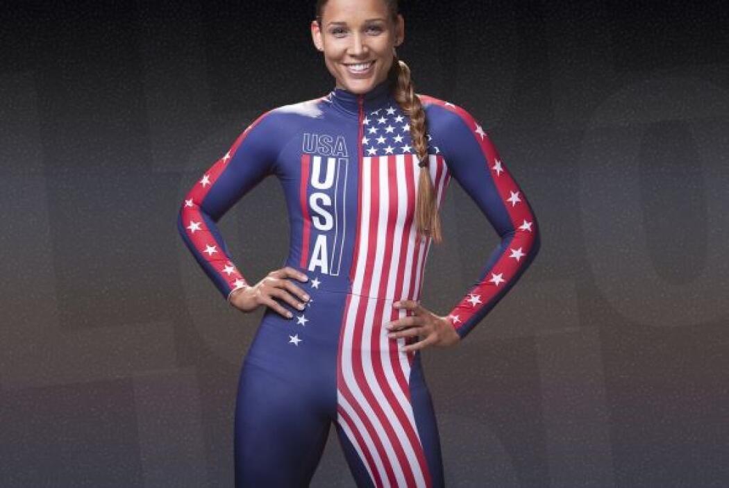 En esta foto aparece la estadounidense Lola Jones. Su uniforme aerodinám...