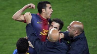 Pedro marcó el gol que le valió el pase a los barcelonistas.
