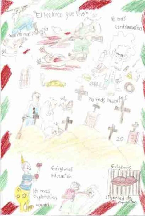 """Los dibujos """"muestran imágenes explícitas de una sociedad devota al narc..."""
