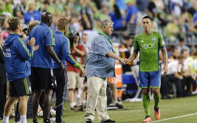 Sigi Schmid y Clint Dempsey Seattle Sounders