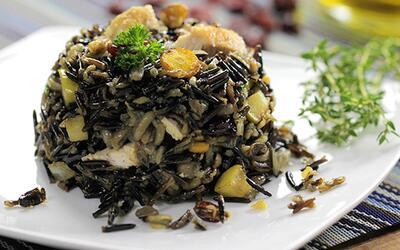 Receta #Reto28: arroz silvestre con pollo, peras y almendras