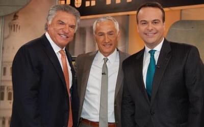 Al Cárdenas y Jorge Plasencia con Jorge Ramos.