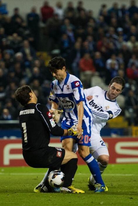 Los gallegos aguantaron bien los ataques del Madrid.