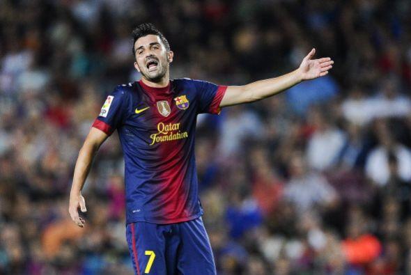 David Villa estuvo en el 11 inicial y tuvo una pequeña discusión con Messi.