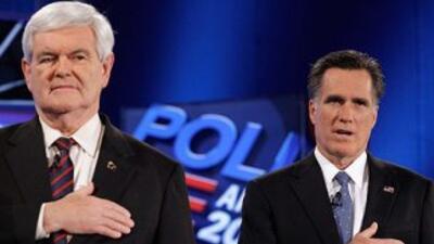 Mitt Romney y Newt Gingrich, los dos candidatos con mayores probabilidad...