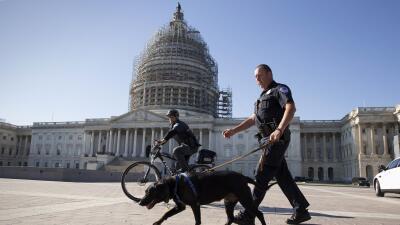 Policia patrulla el Capitolio de Washington