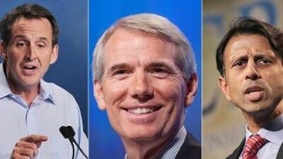 El ex gobernador Tim Pawlenty, el senador de Ohio Rob Portman, y el gobe...