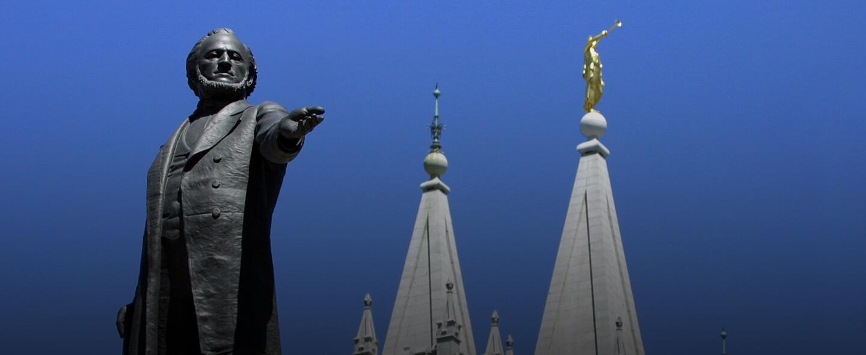 Una estatua de Brigham Young, el segundo presidente de la iglesia mormon...