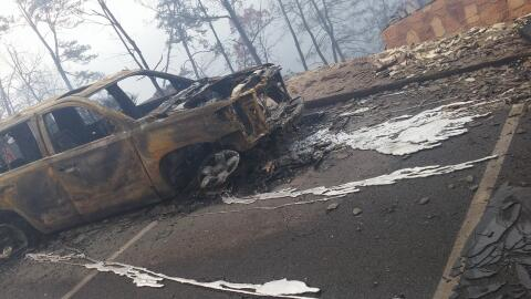 La imagen desgarradora de una camioneta absolutamente devastada por las...