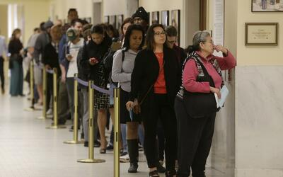 Voters line up to cast their ballot in San Francisco, California.