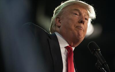 Donald Trump en un mitin de campaña en Erie, Pennsylvania, el 12...