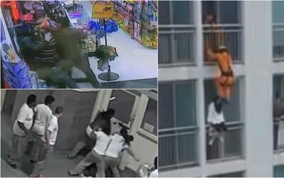 Imágenes de impacto: violento atraco, bombero salva a mujer que intentó...