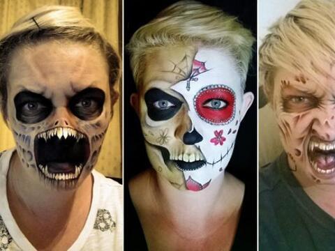 Nikki Shelley realiza obras de arte escalofriantes en su rostro, con est...