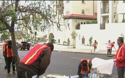 A la espera de su legalización, vendedores ambulantes limpian calles en...