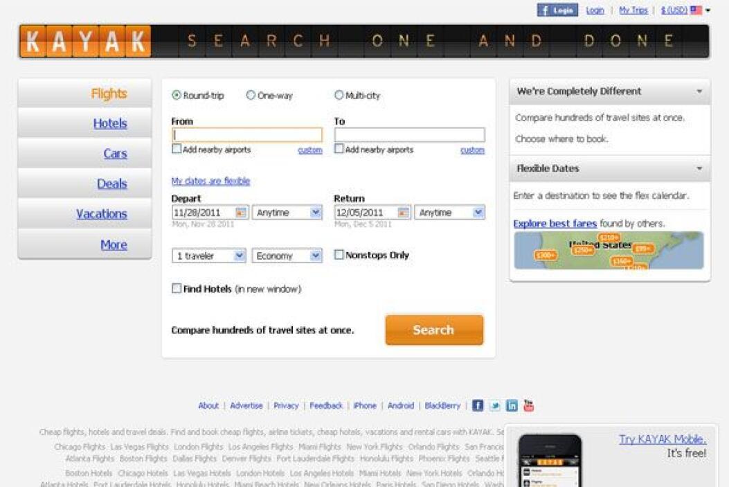 KAYAK - Te permite comparar precios de vuelos, hoteles y autos de alquil...
