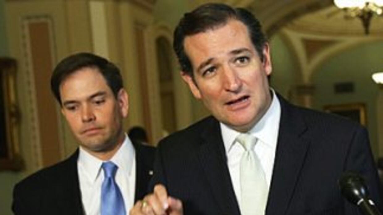Los senadores republicanos Marco Rubio (Florida) y Ted Cruz (Texas).