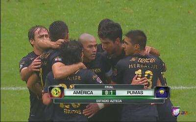 Las águilas del América pierden el invicto ante Pumas por 1-0