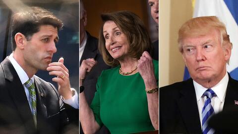 De izquierda a derecha: Paul Ryan, Nancy Pelosi y Donald Trump.