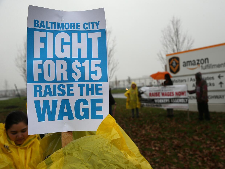 Una manifestación por el salario mínimo en Baltimore, en l...