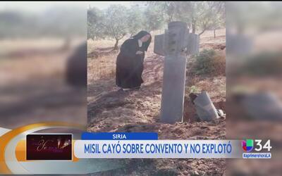 Misil cae en convento en Siria y no explota