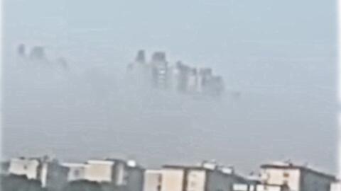 """El fenómeno que hace """"flotar"""" unos edificios en China"""