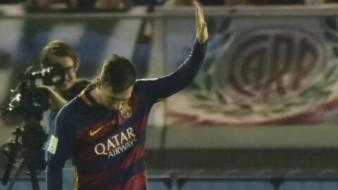 Messi marcó un gol en el Barcelona vs. River Plate