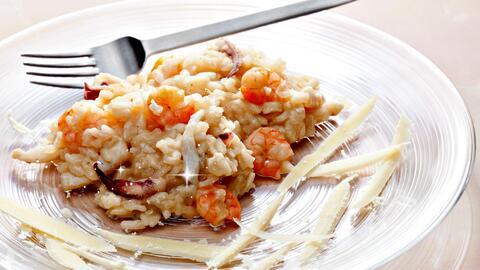Risotto con camarones, pulpo y calamares