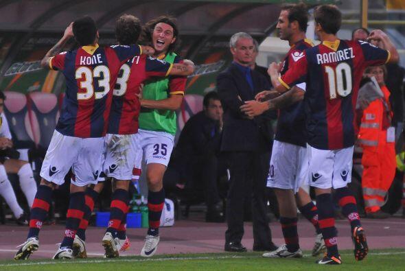 Las cosas estaban 1 a 1 y los jugadores del Bologna festejaban.