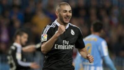Benzema volvió a marcar en el triunfo del Real Madrid en Málaga.