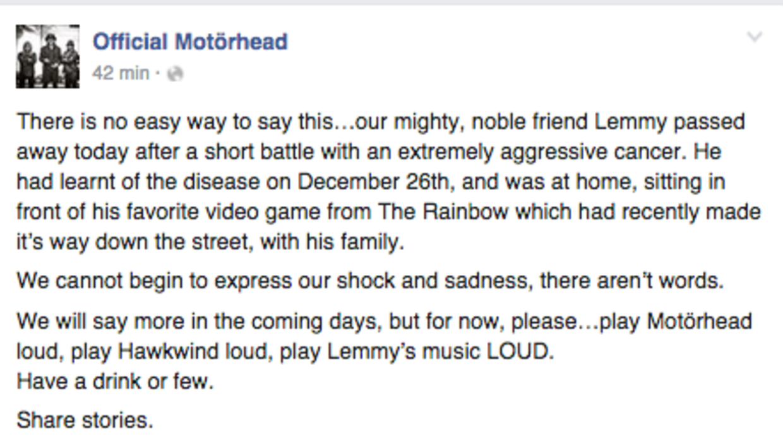 """Muere """"Lemmy"""" Kilmister, uno de los fundadores de la banda Motorhead Scr..."""