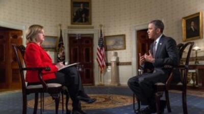 Lourdes Meluza en entrevista con Barack Obama.