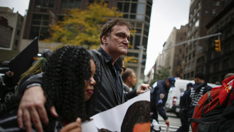 Quentin Tarantino marchando en Nueva York