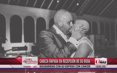 Mujer se rapa el día de su boda por su esposo con cáncer