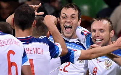 Rusia celebra su triunfo sobre Estonia.