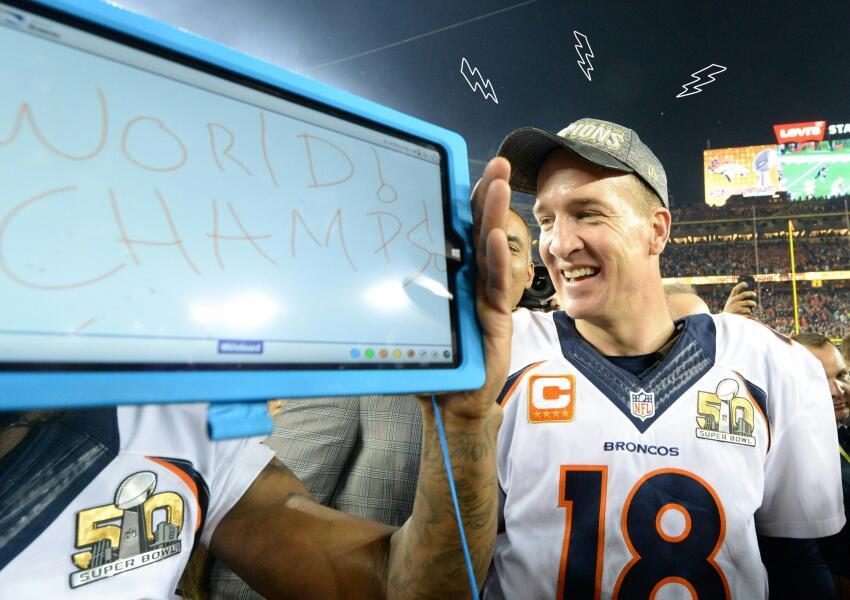 Peyton Manning after winning Super Bowl 50