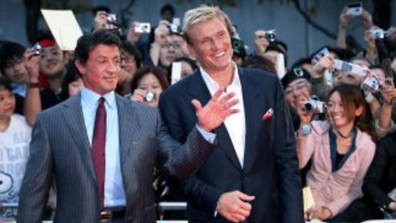 Sylvester Stallone y Dolph Lundgren en Japón.