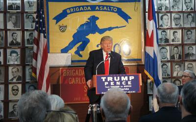 Donald Trump speaking to Bay of Pigs Veterans in Miami on October 25, 2016