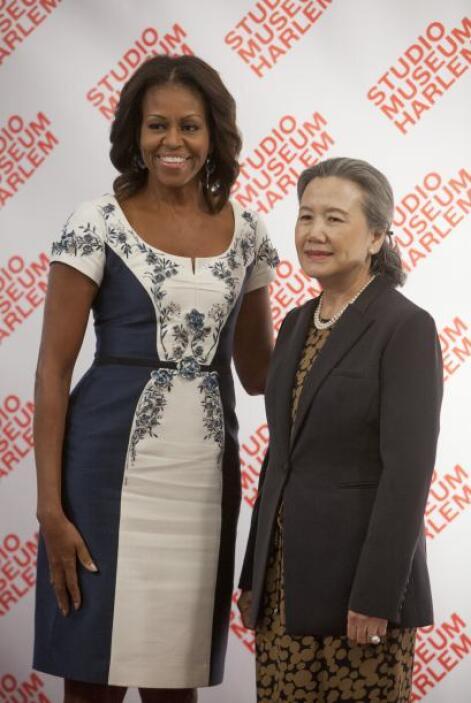 Obama junto a Yoo Soon-taek, esposa del Secretario General de Naciones U...