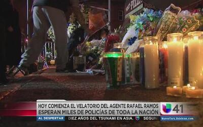 Inician servicios fúnebres de policía asesinado en NY