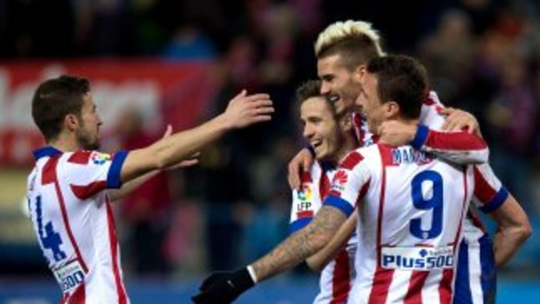 Griezmann celebra su segundo gol contra el Almería.