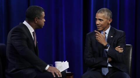 El presidente Barack Obama durante la grabación del programa The...