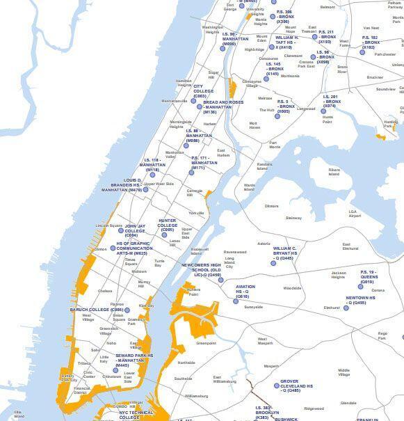 La zona de Long Island y la de Manhattan que está en contacto con...
