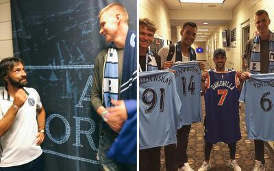 Andrea Pirlo, David Villa y jugadores de los New York Knicks